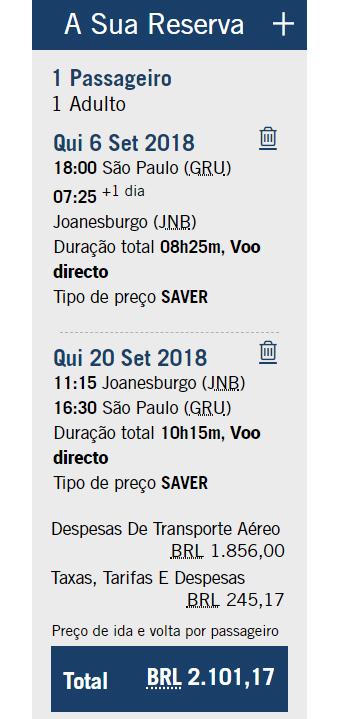 Passagem para a África do Sul - South African Airways (SAA)