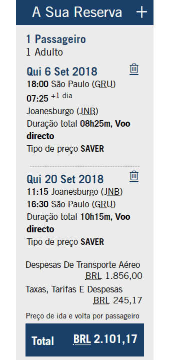 Passagem para a África do Sul - South African Airways (SAA)