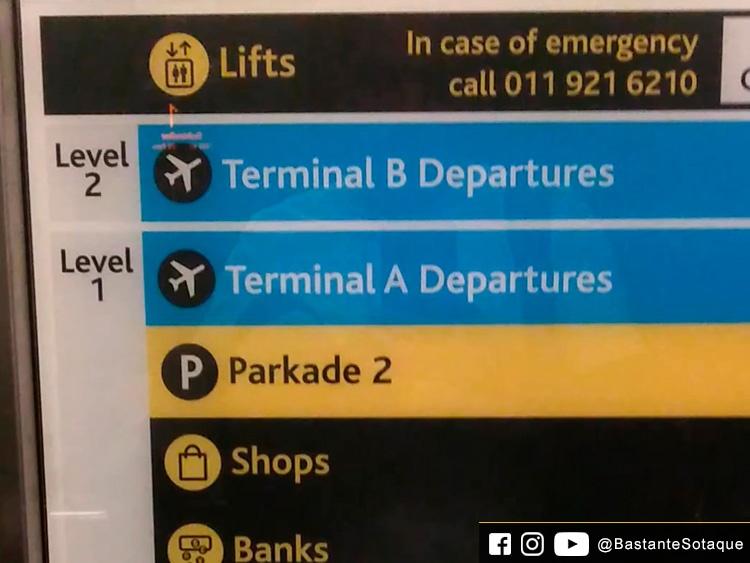 Elevador do Aeroporto OR Tambo de Joanesburgo