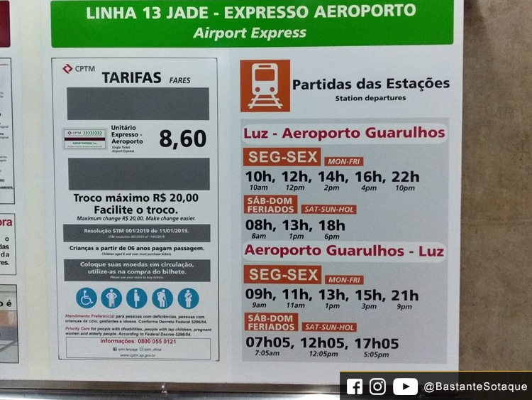 Expresso Aeroporto: preços