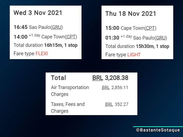 Simulação de preços para voos da Taag